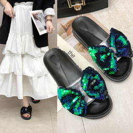 korean flat slippers Australia - Overseas2019 Paillette Fashion Korean Will Bow Flange Sponge Cake With Cool Slipper Summer Woman Shoes