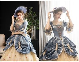 Renaissance faiRy costumes online shopping - 100 real luxury embroidery blue lace princess queen fairy cosplay ball gown royal princess Medieval Renaissance Victoria dress Belle ball