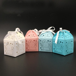 $enCountryForm.capitalKeyWord Australia - 50pcs Elephant Laser Cut Hollow Carriage Favors Box Gifts Candy Boxes With Ribbon Baby Shower Wedding Event Party Supplies