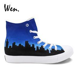 Platform Pedals Australia - Wen Hand Painted Shoes Chicago Flag City Skyline Design Men Vulcanize Shoes Pedal Platform Flat Lacing Loafers Women Sneaker #363452