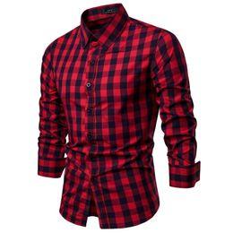 Linen Slim Shirts Australia - Men Plaid Shirt Cotton 2019 Casual Long Sleeve Shirt Soft Comfort Slim Fit Styles Brand Man Clothes
