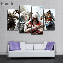 $enCountryForm.capitalKeyWord NZ - 4 Panel HD Printed Canvas painting Assassins Creed Video Game Poster Boys Room Decor Canvas Print Poster Picture Wallpaper Wall Art
