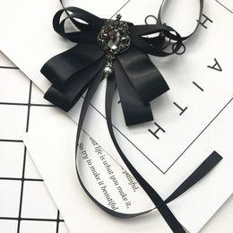 $enCountryForm.capitalKeyWord Australia - Trendy Ribbon Bow Neck Tie Women's Wedding Dress Shirt Blouse Ties Silk Bowtie Best Man Bridegroom Collar Pin Outfit Accessories