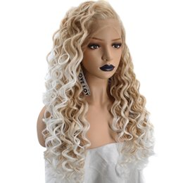 Ombre Kinky Lace Wigs Australia - Synthetic Hair Kinky Curly Long Wig Long Lace Front Wigs for Black women 20-26inch Lace Frontal hair Ombre Color Free Shipping