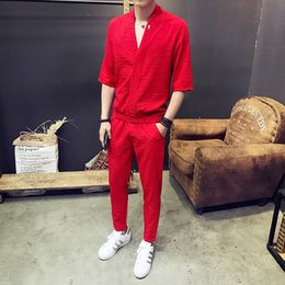 Clothes T Shirt Man Australia - 2019 2Pcs Men Sets Fashion Street Wear Solid Men V-Neck T-shirt+pants Tracksuits Casual Pockets Drawstring Sportwear Clothes 5XL