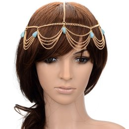 Chain Headpiece Forehead Australia - BOHO Gold Headpiece Stone Pendant Forehead Headband Jewelry Charm Head Chain For Women Headdress Bridal Hair Accessories