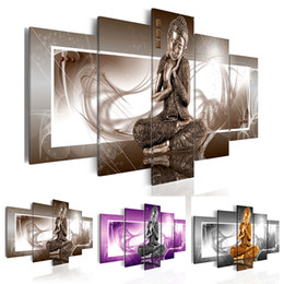 wall art purple canvas frame NZ - No Frame 5 Piece Buddha Canvas Painting Home Decor Wall Art Picture for Living Room,Choose Color:(Brown,Gold,Purple) And Size:3