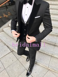 8df0776c8a Best party wear suits online shopping - Black Groom Tuxedos Men wedding  Suits Velevt Peaked Lapel