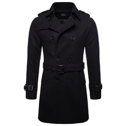 mens short double breasted coat Australia - AOWOFS Winter Men Wool Pea Coats Black Mens Overcoat Short Trench Coats Male Double Breasted Pea Coat High Quality Wool Clothing