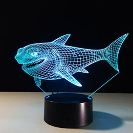 Discount shark figures - Billhead Shark 7 Color Changing Night Light Collectible Charizard 3d Led Table Desk Lamp Cartoon Figure Childrens Bedsid