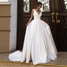 $enCountryForm.capitalKeyWord Australia - Simple V-neck Sleeveless Wedding Dress White Ivory Top Quality Satin Backless Robe De Mariee Cheap Bridal Dresses Chapel Train