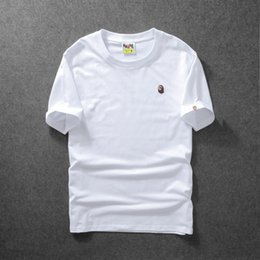 Mens Shirt Material Canada - T Shirts For Mens 2018 Summer Wear Tide Card Embroidery Pure Color Cotton Material Bottoming Blouses Short Sleeve Men's Leisure