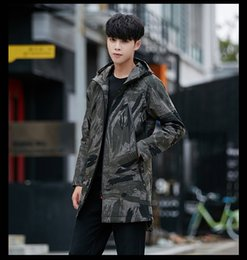 Camouflage Cotton Jacket NZ - Charm2019 And Pattern Youth Camouflage Increase Cotton Long Fund Windbreaker Jacket Maleslim Lapel Hat Loose Coat