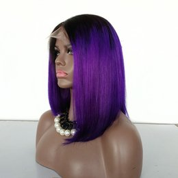 Tone Hair Color Lace Fronts Australia - Custom make Purple Color Lace Front Wig 130% Density Two Tone Color Bob Style Lace Wigs, Chinese Human Hair Lace Wig