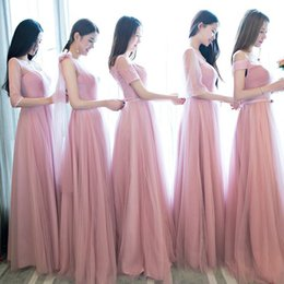 Long Red Group Bridesmaid Dresses Australia - Serve Long Coltsfoot Season Sisters Skirt Red Bean Paste Color One Shoulder Self-cultivation Bridesmaid Group Full Dress Evening Dress