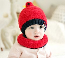 Little Hats Australia - Cute Little Bird Baby Winter Knitted Beanie Hat And Scarf Set Toddler Kids Warm Balaclava Cap Outdoor Skiing Sports Scarf Sets