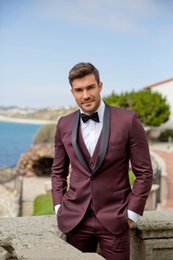 $enCountryForm.capitalKeyWord Australia - Three Piece Wine Evening Party Men Suits Shawl Lapel Trim Fit Custom Made Wedding Tuxedos (Jacket + Pants + Vest+Tie)W:557