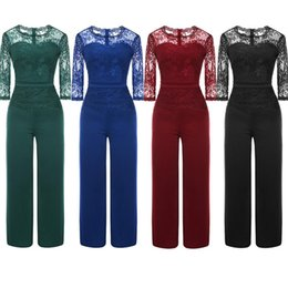 sexy full length bodysuit NZ - Summer Jumpsuit styles for Women big Sexy Long Sleeve Bodysuit Full Length Lace Patchwork Bodycon Rompers Womens Playsuits one piece outfits