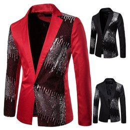 men s long wedding suit NZ - 2020 Men Shiny Sequin Blazer Jacket Coats Casual Wedding Party Mens Blazers Autumn Casual Slim Fit Long Sleeves Suit Jacket Red Black