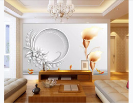 $enCountryForm.capitalKeyWord Australia - 3d wall paper custom photo Silk wallpaper mural Stereo Calla Lily Squid Pattern Living Room TV 3D Background Mural wallpaper for walls 3d
