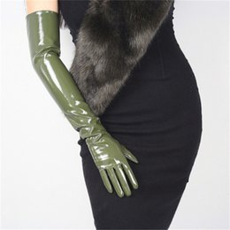 black patent leather gloves Australia - 60cm Patent Leather Long Gloves Extra Long Over Elbow PU Emulation Leather Bright Leather Mirror Dark Green Army Green WPU49-60