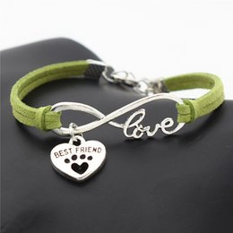 Wholesale Silver Plated Infinity Love Cute Pets Dog Cat Paw Best Friend Heart Bracelet Handmade Green Braided Leather Rope Women Men Jewelry Big Deals