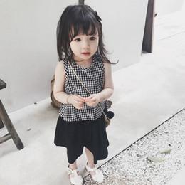 Toddler legging seTs online shopping - 2019 toddler girl clothes summer Plaid vest Plaid vest clothing Wide leg Pant Infant Toddler Baby summer clothes Set