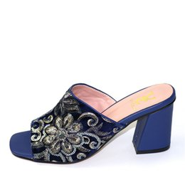 italian showers NZ - Royal Blue Color African PU Leather Shoes Decorated With Rhinestones Shoes Women Italian High Heels Sandals For Party Wedding