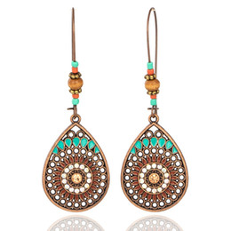 Hanging Copper Earrings NZ - Vintage Boho India Ethnic Water Drip Hanging Dangle Drop Earrings for Women Female 2018 New Wedding Party Jewelry Accessories