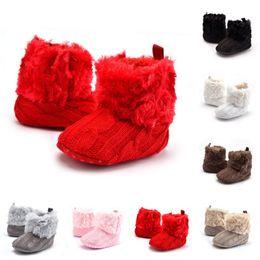 Crochet Baby Footwear Australia - Baby Crochet Fur Boots Toddler Infant Knitted Shoes Children Indoor First Walkers Prewalker Footwear Thicken Warm Soft