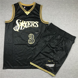 custom basketball jerseys Australia - NCAA 76 ers Vintage Men Youth Black shorts Jerseys 3 Iverson The year of the rat basketball Jersey custom any name or number jersey