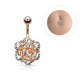luxury belly button rings NZ - New Luxury Bing Gemstone Navels High Grade Crystal Rose Designer Navels Women Flower Dangle Belly Button Rings Fashion Accessories