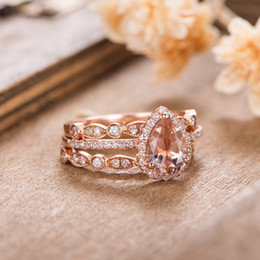 14k diamond cluster ring Australia - Women's 14K Rose Gold Morganite Engagement Ring Set Shaped Art Diamond Ring Bridal Eternity Wedding Anniversary Gift