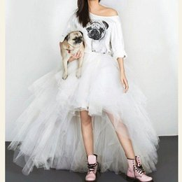 pictures pleated jackets Canada - White Tulle Hi lo Pleats Prom Skirts 2019 Cheap Special Occasion For Teens Sweet 16 Party Graduation Wear Short Skirts Cocktail Custom Made