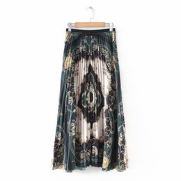 $enCountryForm.capitalKeyWord Australia - Women New Vintage Chain Flower Print Pleated Midi Skirt Faldas Mujer Ladies Elastic Waist Casual Slim Chic Brand Skirts Qun157