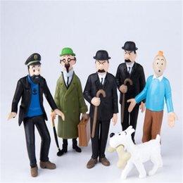 Vente en gros Anime Chiffres Ensembles Poupée Les Aventures De Tintin PVC Bande Dessinée Action Figure Collection Modèle Jouet pour Enfants Cadeau DHL