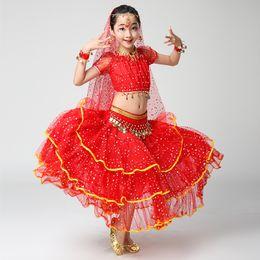 Dance Garments Australia - Kids Indian Belly Dance Short-sleeved Costumes Girls Professional Dance Performance Garment Children's Practice Clothes H4528