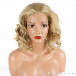 Blonde Resistant Synthetic Fiber Australia - Hot Selling Glueless Short Blonde Bob Wavy Synthetic Lace Front Wig for Women Heat Resistant Fiber Free Part Cosplay Party Daily Makeup