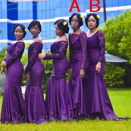 Formal dresses For cheap online shopping - 2019 New Cheap Purple Bridesmaid Dresses For Weddings Off Shoulder Lace Appliques Mermaid Plus Size Black Girl Formal Maid of Honor Gowns