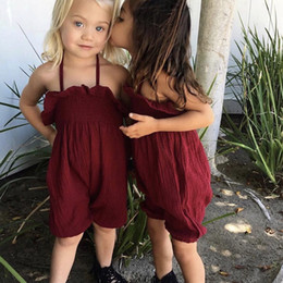 5t romper online shopping - Baby Sling shorts Ruffle Bloomers romper summer Jumpsuits fashion Boutique Kids Climbing clothes C6056