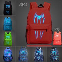 $enCountryForm.capitalKeyWord NZ - glow in the night spiderman printed kids backpacks 9 Colors 45*31*14cm fluorescent Kids book bag schoolbags kids designer bags SS305