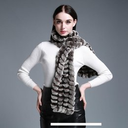 Wholesale Real Knitted Rex Rabbit Fur Scarf Winter Neck Warmer Women Scarves Shawl T191118