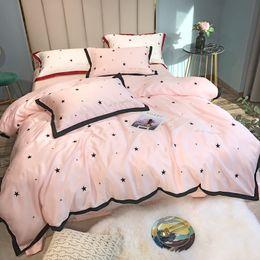 $enCountryForm.capitalKeyWord Australia - Super Good Quality FreeShip Pink Wedding Bedding Set Girls lovely Star Pillowcase Tencel 60 Two-sided Ice Silk Sheet Quilt Cover