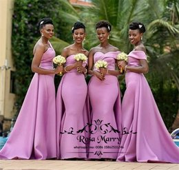 Plus Size Wedding Dresses Dark Purple Australia - Plus Size Purple African Mermaid Bridesmaids Dresses 2019 One Shoulder Cheap Country Beach Maid Of Honors Cheap Wedding Guest Gowns