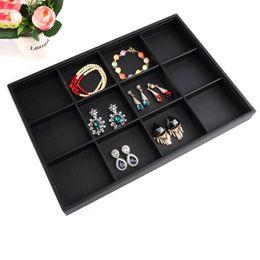Wedding Display Cases Canada - High Quality Black Soft Velvet Jewelry Box Elegant Earring Case Jewelry Box Wedding Gift Bracelet Display Tray Case Holder