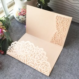 Wholesale 35PCS Hollow Laser Cut Nice Flowers Wedding Invitation Card With Pearl Paper For Wedding Invitation Cards Birthday Party Thanks Card
