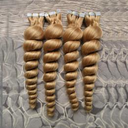 Discount tape hair extensions 18 613 - #613 Bleach Blonde brazilian loose wave hair skin weft tape hair extensions unprocessed virgin brazilian hair 200g (80pc