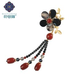 $enCountryForm.capitalKeyWord UK - Ethnic Handmade Black Lampwork Flower Golden Leaf Brooch Glass Chain Tassel Pearl Golden Vine Beads Chain Tassel Brooch XZ-18111