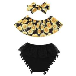 c4dd01b41c7d Baby Girls Sunflower Off Shoulder Tops +Lace Tassel Short Pants + Bowknot  Headband 3pcs Outfit Summer Cute Newborn Infant Clothing Sets