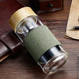 glasses for climbing NZ - Travel Water Bottles with Infuser Glass Tumbler Stainless Steel Filter Portable Sport Leak Proof Drinking Water for Bottle